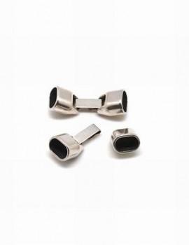 Kapocs 10x7 mm bőrhöz-platinum-1 pár