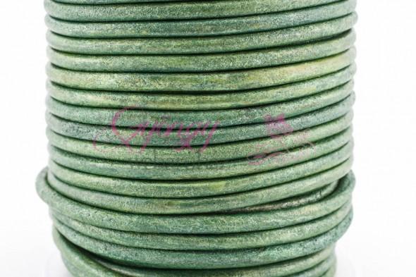 3 mm bőrszál-metál almazöld-10 cm