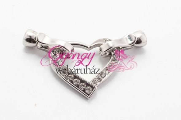 Strasszos szív kapocs-ezüst-1 db