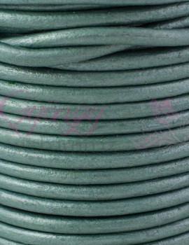 3 mm bőrszál-metál tengerzöld-10 cm
