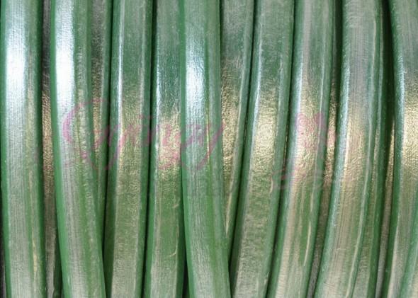 Ovális bőr 10x6 mm-Metál tengerzöld-1 cm