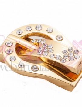 Strasszos mágneses öv kapocs-arany-1 db
