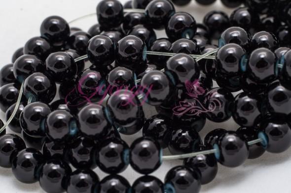 Ásvány utánzat üveggyöngy-6 mm-20 db-Fekete