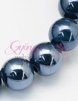 8 mm porcelán-hematit kék-5 db