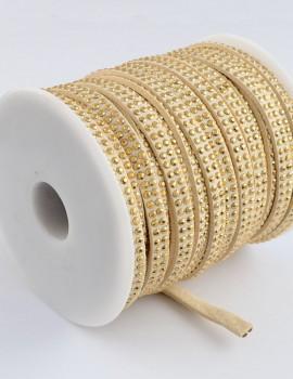 5 mm dupla arany szegecses-krém-10 cm