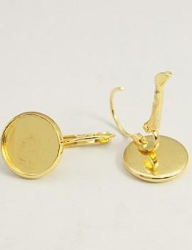 14 mm kerek fülbevalóalap-Arany-1 pár