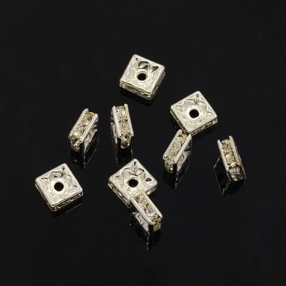 6 mm négyzet-ezüst-1 db