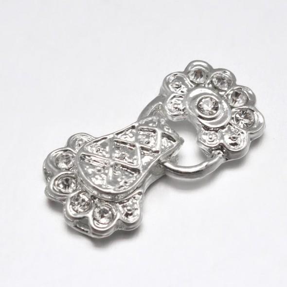 Virág alakú mágneses órakapocs-ezüst-1 db