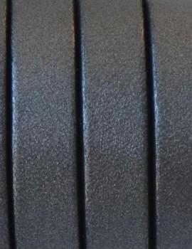 10 mm lapos bőrszál-metál sötét ezüst-1 cm