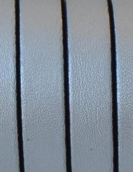 10 mm lapos bőrszál-metál ezüst-1 cm