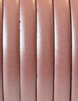 5 mm lapos bőrszál-Metál lazac-1 cm