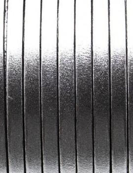 5 mm lapos bőrszál-Metál ezüst-1 cm