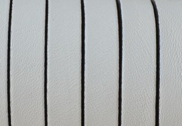 10 mm lapos bőrszál-Fehér-1 cm