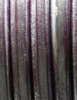 Ovális bőr 10 x 6 mm-Metál lila-1 cm