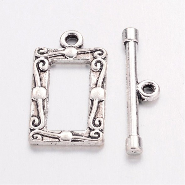Díszes téglalap T-kapocs-Antik ezüst-1 szett