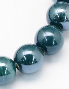 8 mm porcelán gyöngy-Olajzöld-5 db