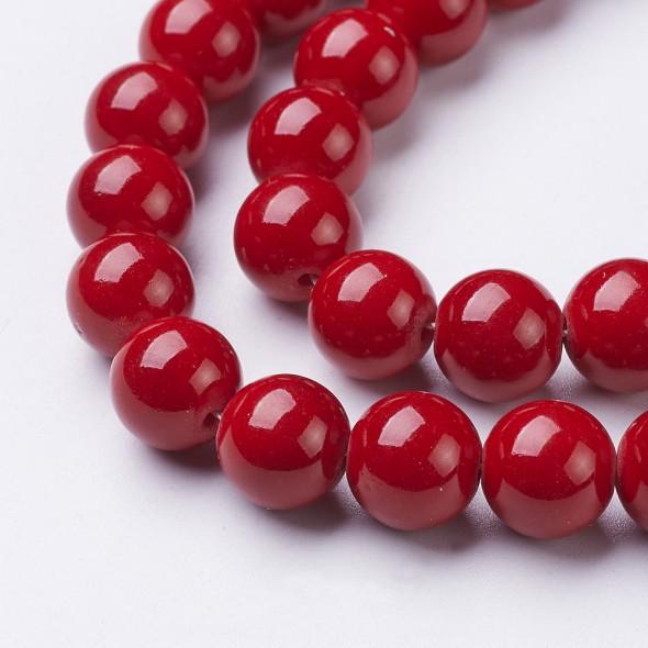 Jade golyó 10 mm-Piros-1 db