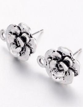 Virág bedugós fülbevalóalap-antik ezüst-1 pár