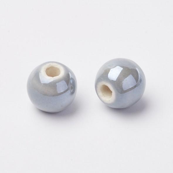 Porcelángyöngy-Szürke-5 db