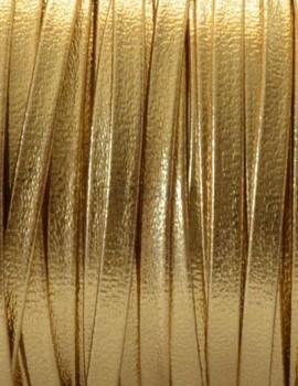 3 mm lapos bőr-fényes arany-1 cm