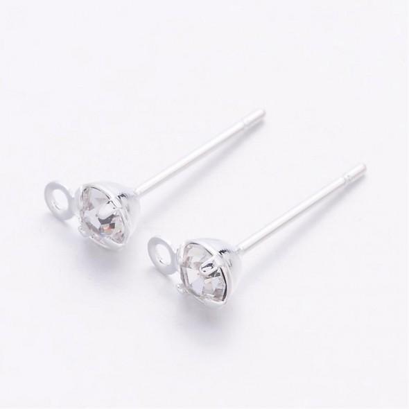 Köves fülbevalóalap-ezüst-1 pár