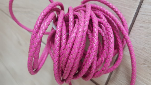 5 mm fonott bőr-pink-1 cm