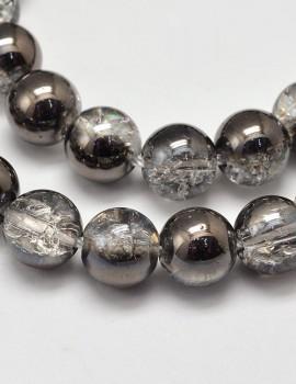 Roppantott gyöngy 10 mm-Kristály-hematit- 1 db
