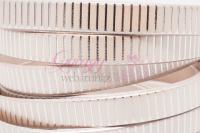 10 mm lapos bőrszál-metál krém csíkos-1 cm