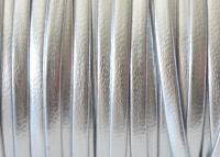 3 mm lapos bőr-Fényes ezüst-1 cm